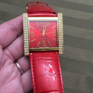 Joan rivers red patent croc leather watch BLING